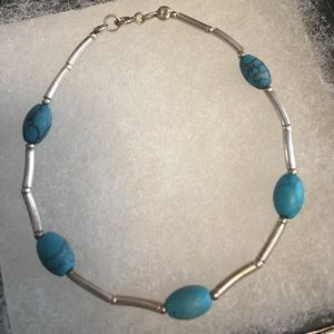 Jewelry - Slim sterling silver bracelet with turquoise beads